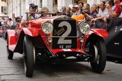1927 gebouwde rode OM Superba bij 1000 Miglia Stock Foto's