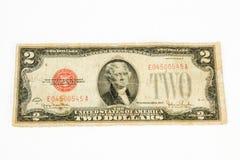 1928 Verenigde Staten twee dollarrekening Stock Afbeelding