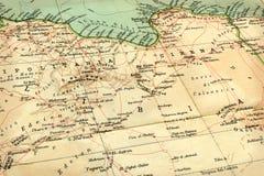 1929年老利比亚映射 免版税库存图片