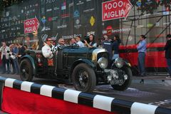 1929 Bentley 4.5 at the start of 2012 1000 Miglia Royalty Free Stock Image