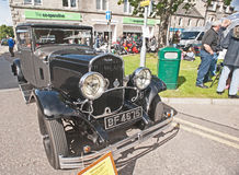 1929 Chrysler vintage saloon car. A gray and black 1929 Chrysler saloon car still in new condition shown at Motormania held in Grantown-on-Spey on 1st September Stock Images