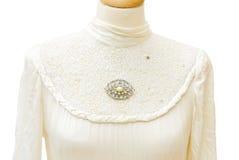 1930年新娘真正详细资料的礼服 免版税库存照片