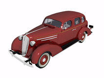 1930 Red Sedan Car. 1930 red Sedan car, old timer. High resolution, detail 3D render, illustration over white. View from front stock illustration