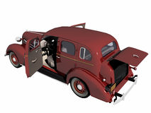 1930 red Sedan Car with open doors.. 1930 red Sedan car, old timer with open doors. High resolution, detail 3D render, illustration over white. Back view Stock Illustration
