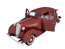1930 Sedan Car, red. 1930 Sedan car with open doors, old timer. High resolution, detail 3D render, illustration over white royalty free illustration