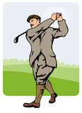 1930s golfer teeing off Stock Images