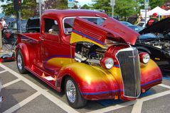 1936 Ford Truck with Open Hood at a Car Show Stock Image