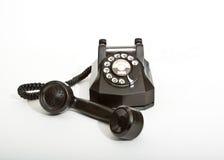 1940 czarny obrotowy telefoniczny rocznik Obraz Stock