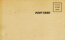 1940's Linen Postcard. Blank back of a 1940's linen postcard.  Box for stamp.  Sepia tone Royalty Free Stock Photo