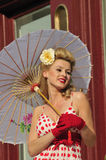 1940s Lady With Umbrella Royalty Free Stock Photography
