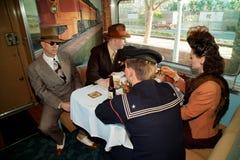 1940s reenactors on train Royalty Free Stock Photos
