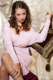 1940s Style Pin-Up Shot of Beautiful Young Woman Royalty Free Stock Images