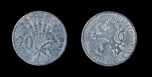an 1943 de pièce de monnaie de checz Photographie stock libre de droits