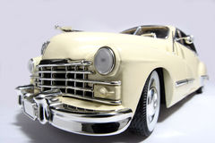 1947 Cadillac metal scale toy car fisheye. Picture of a 1947 Cadillac. Taken with a fisheye lens. Very hard to flash as the frontlens is only 3 cm away from the Royalty Free Stock Images