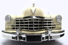 1947 Cadillac metal scale toy car fisheye frontview. Picture of a 1947 Cadillac. Taken with a fisheye lens. Very hard to flash as the frontlens is only 3 cm away Stock Image