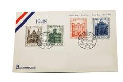 1948 dag holländskt kuvert först Arkivbilder