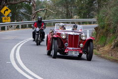 1948 MG TC on Vintage Car Run. 1948 MG TC Tourer followed by a classic Matchless G 80 on the Bay to Birdwood Run in the Adelaide Hills. Entrants 0111 (G J Stagg Stock Images