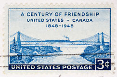 1948  Stamp FriendShip United States Canada. This is a Vintage 1948 Canceled US Postage Stamp FriendShip United States Canada Stock Images