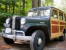 1949 Willys Jeep Station Wagon. Four-wheel drive became an option in 1949 Willys Jeep Wagon introduced in 1946. The Willys wagon was arguably the first SUV ever royalty free stock images