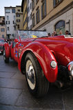 1950 built red Healey Silverstone at 1000 Miglia Stock Photos
