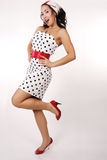 1950 pin up girl. Pretty women dress as a 1950 pin up girl royalty free stock image