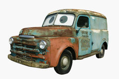 1950's Dodge Panel Wagon. Truck with cartoon eyes.  Turquoise and rust patina Royalty Free Stock Photography