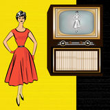 1950's Retro Television Background Stock Photo
