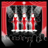 1950's rock-n-roll retro girl band. This image is for the concept of Going Retro and shows a theater stage set with a 1950's trio girl band on stage ready to royalty free illustration