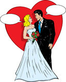 1950s comic book wedding. Wedding couple in a 1950s comic book style saying something to each other royalty free illustration