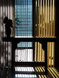 1950s Modernist hall: entry detail. 1950s modernist meeting hall with colored glass entry Royalty Free Stock Images