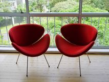1950s: modernist red chairs. Retro modernist red chairs in 1950s apartment Royalty Free Stock Photos