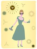 1950s Woman drinking cocktail abstract background. Retro clock abstract 50s woman standing and drinking  illustration Stock Photo