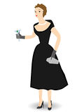 1950s woman holding cocktail Isolated - Vector. Dressed up with drink in hand retro style Stock Photos