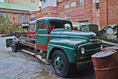 1951 international l-170 series. Old truck i discovered at a former factory in halden, the truck is from 1951 and is an international l-170 series, the truck is Stock Photography