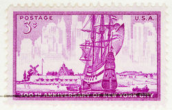 1952  Stamp  New York City. This is a Vintage 1952 Us Postage Stamp Anniversary of New York City Stock Photos