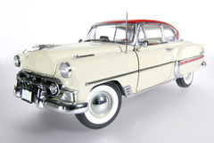 1953 Bel Air metal scale toy car wideangel. Picture of a 1953 Bel Air. Taken with extrem wideangel as a highkey picture. Detailed scale model from my brothers Stock Photo