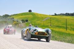 1953 grünes Aston Martin und ein 1950 Rot Healey Stockfoto