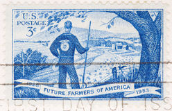 1953 Stamp Future farmers of American. This is a Vintage 1953 Canceled US Postage Stamp Future farmers of America Stock Photo