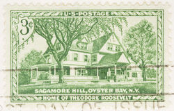 1953 Stamp Home of Theodore Roosevelt. This is a Vintage 1953 Canceled US Postage Stamp Home of Theodore Roosevelt Royalty Free Stock Photo