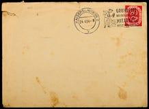 1954年大约信包邮寄使用的葡萄酒 库存图片