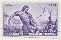 1954 Nebraska Territorial. This is a Vintage 1954 Canceled US Postage Stamp Nebraska Territorial Centennial Stock Images