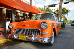 1955 Chevrolet Bel Air in Miami Beach. 1955 Chevrolet Bel Air in front of Edison Hotel in Miami Beach, Florida, USA Stock Image