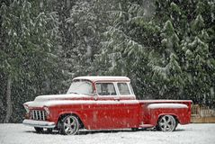 1955 Chevy Classic in Snow Stock Photography