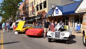 1955 MG, 1994 Corvette, Ferrari 1970 Fotografie Stock