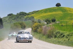 1955 PORSCHE 356 Pre-A coupe 1500 at 1000 Miglia royalty free stock image