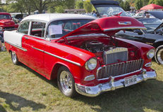 1955 Rood & Wit Bel Air Chevy Stock Fotografie