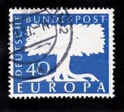 1957大约欧罗巴德国邮票的古董 免版税库存图片