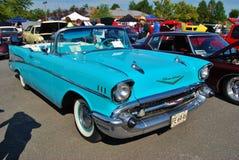 1957年薛佛列汽车Bel Air敞篷车 免版税库存照片