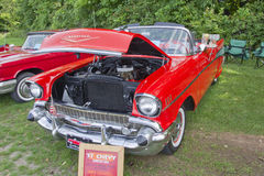 1957 Convertibele Oranje Auto Chevy Royalty-vrije Stock Foto