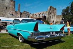 1957 Lincoln Premiere Coupe 2D HT. HAAPSALU, ESTONIA - JULY 18: American Beauty Car Show, showing blue 1957 Lincoln Premiere Coupe 2D HT, rear view on July 18 Stock Photography